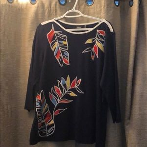 Embroidered colorful top